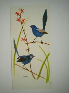"""VINTAGE """"BLUE WRENS"""" BLANK GREETING CARD ~ E. Krell ~ Mouth Painter"""