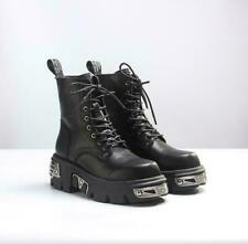 New Womens Rock Metallic Leather Goth Punk Military Ankle Boots Biker Shoes Size
