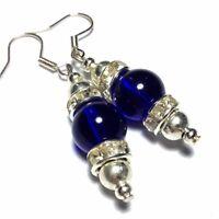 Blue Earrings Vintage Style Drop, Studs, Clip on or 925 Silver Hooks