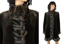 Jones New York Coat Sz M Retro Dark Brown Faux Seal Mink Winter Jacket Soft Lush