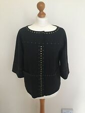 DKNY Wool Box Style Wool 3/4Sleeves Studded Jacket Slip Pockets Charcoal Winter8
