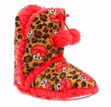"""Elmo Sesame Street Women's Girl""""s Boot Slippers Pom Tassel Fleece Lined Fx Fur S"""