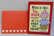 Valentine's Day Card Leanin' Tree Cartoon, Jokes, Chocolate, With Envelope