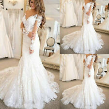 Beach Long Sleeves Wedding Dresses V-Neck Mermaid Bridal Gowns Appliques Lace Up