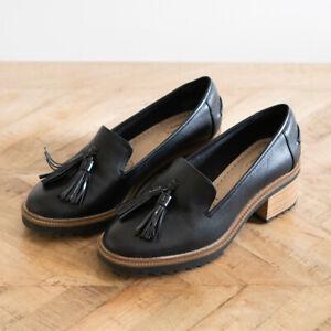 Clarks Balmer Haze Block Heel Black Leather Slip-On Loafer Court Shoe Size 4