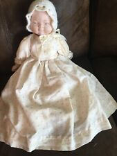 "Handmade Bisque Baby Doll Cloth Body OOAK 15"""