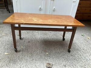 Vintage Mid Century Teak Side Coffee Table with Wheels Castors
