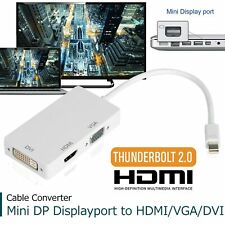 3 in 1 Thunderbolt Mini DP Display port to HDMI DVI VGA Adapter Cable Cord White