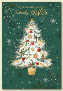 LOVELY SISTER CHRISTMAS CARD ~ TREE DESIGN ~ QUALITY CARD & NICE VERSE