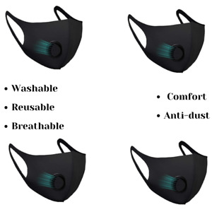 4 X Black Face Masks With Filter