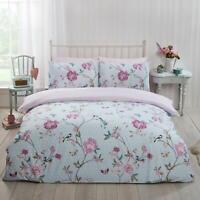 Duck Egg Duvet Covers Floral Birds Vintage Reversible Quilt Cover Bedding Sets
