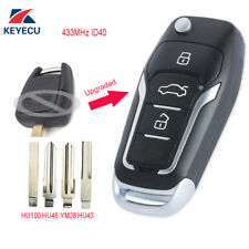 Upgraded Flip Remote Car Key Fob 433MHz ID40 for Opel Vectra B 1995-2002 / Omega