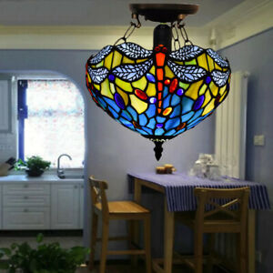 NICE Dragonfly Tiffany Style Ceiling Lamp Handcrafted Lamps Stained Glass Light