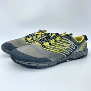 Merrell Mens Ascend Glove Wild Dove Running Shoes Gray Yellow J41767 Size 11.5