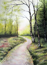 LARGE LANDSCAPE WATERCOLOUR PAINTING Forest Path,Woodland,Sarah Featherstone ART