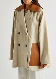 Loewe Cream double-breasted cotton-blend peacoat, size FR 36