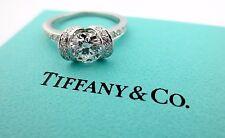 Tiffany & Co Platinum Round Diamond Ribbon Engagement Ring D VS1 1.08Ct