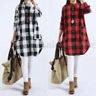 Zanzea Plus Sizes Ladies Plaid Check Long Shirt Tops Blouse Mini Dress Party New