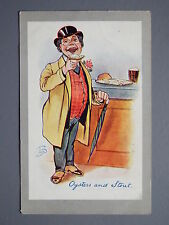 R&L Postcard: Comic, Jacques & Macarthur, Oysters & Stout, Man in Waistcoat