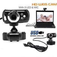 USB HD Webcam Web Cam Camera & Microphone Mic 3 LED PC Laptop Skype  CO