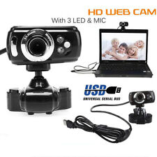 USB HD Webcam Web Cam Camera & Microphone Mic 3 LED PC Laptop Skype SE
