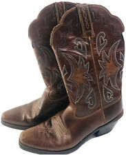 Womens Ariat Western Ranch Wear Boots Sz 8.5 Brown Leather