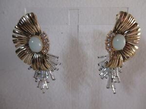 Ann Taylor Floral  Stone Drop Earrings NIP $45