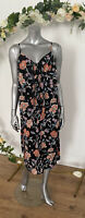 New Look Maternity Dress Size 12 Black Floral Print Tie Button Front Midi GG32