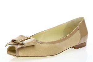 Womens Bruno Magli Stylish Beige Leather/Fabric Open Toe Flats Shoes Sz. 36.5 M