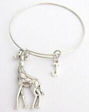 Large Silver Giraffe Bangle Bracelet,Charm Bangle Monogram Initial Bracelet