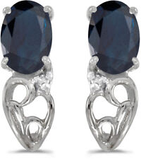 14k White Gold Oval Sapphire And Diamond Earrings (CM-E2582XW-09)