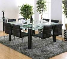New Modern Square Glass Top Table & Black Chairs - 9 pieces Dining Room Set Ice8