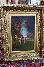 Jugendstil Gemälde von Richard Lanzendorf  NYMPHEN IM MÄRCHENHAFTEN WALD