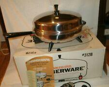 Farberware Electric Fry Pan Skillet 312-B Stainless Steel Dome Lid in box