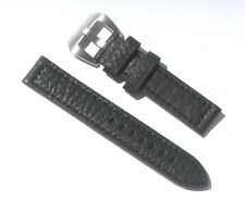20mm Black Extra Thick Heavy Duty Leather Watch Band