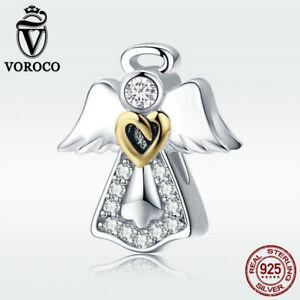 Voroco Angel S925 Sterling Silver Charm CZ Pendant Fit Necklace Bracelet Jewelry