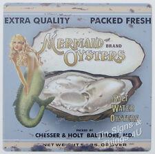 Mermaid Oysters TIN SIGN vintage seafood metal wall art restaurant kitchen decor