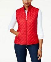 Karen Scott Sport Size S Small Women's Full Zip Red Quilted Vest