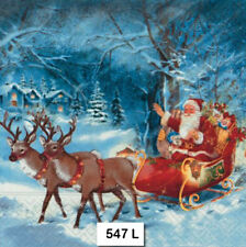 TWO (2) Paper Luncheon Napkins Decoupage (547) SANTA, SLEIGH REINDEER, CHRISTMAS