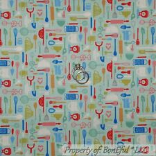 BonEful FABRIC Cotton Quilt Blue Red White RETRO Kitchen Small Bake Cook L SCRAP