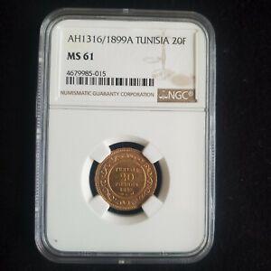 Tunisia Ali Bey 20 Francs Gold coin 1899 Paris AH 1316  NGC MS 61