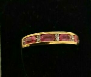 Sterling Silver Yellow Gold plate Pink Ruby 1.3 ct Clear Zircon band ring size S