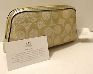 New WT Coach F46321 Leather Trim Change Card Cosmetic Makeup Bag Pouch $68