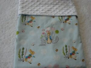 Peter Rabbit Cotton Front White Minky Reversible Bassinet/Crib Blanket Handmade