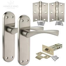 Winged Internal Brushed Chrome Door Handles on Backplate - Latch Door Handles
