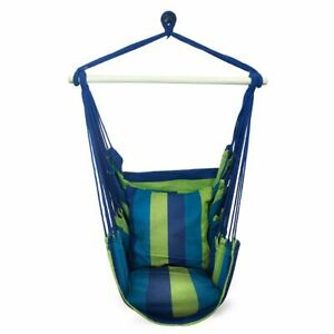 Sorbus Blue Hanging Rope Hammock Chair Swing Seat-2 Seat Cushions Included