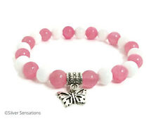 Baby Pink Jade & White Agate Beaded Fashion Bracelet With Silver Butterfly Charm