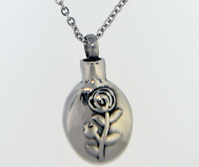 Rose On Oval Cremation Jewelry Keepsake Memorial Pendant Urn Necklace Flower