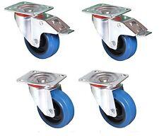 100mm. QUALITY Flight Case Castors. Blue Wheel. Set of 4 : 2 Swivel + 2 Braked*