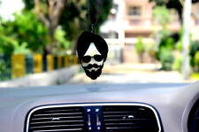 Designer Car Hanging Sardar Pendent With Silver Chain Front Mirror Hanging